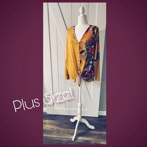 SALE🍁NEW 1X-3X mustard yellow & floral tie top